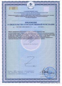 Кальций-Биолит, Приложение к Свидетельству о гос. регистрации